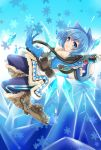 1girl :d bangs belt belt_pouch blue_bow blue_eyes blue_gloves blue_hair blue_legwear blush boots bow brown_boots canister canteen cirno coat cosplay energy_gun fang finger_on_trigger fur-lined_boots fur-lined_jacket fur_boots fur_coat fur_trim gloves grin gun hair_bow handgun hands_up harness highres holding holding_gun holding_weapon hose ice ice_wings knee_boots looking_at_viewer mei_(overwatch) mei_(overwatch)_(cosplay) midair open_mouth overwatch parka power_connection print_legwear ray_gun rouyuanzi_xiao_diudiu shoes short_hair smile snowflake_background solo spiked_shoes spikes strap touhou utility_belt weapon wings winter_clothes winter_coat