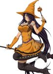 1girl black_boots black_bra boots bra breasts cleavage detached_sleeves dress grey_eyes hair_over_one_eye halloween_costume hat ikkitousen kan'u_unchou large_breasts looking_at_viewer orange_dress orange_hat pumpkin smile solo thigh-highs thigh_boots underwear witch_hat
