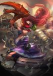 1boy 1girl akali alternate_costume alternate_hair_color butter cglas cooking facial_hair fish fork gragas hairband hat indoors knife league_of_legends lobster_claw long_hair motion_blur open_mouth ponytail purple_clothes radish red_eyes redhead sashimi_akali standing tahm_kench very_long_hair wide_sleeves yellow_sclera