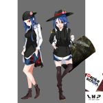 1girl ankle_boots backwards_hat bag baseball_cap black_boots black_legwear black_shoes blue_hair blue_shorts boots carrying casual contemporary dress_shirt dual_persona duffel_bag emblem_request food from_side fruit full_body grey_background hair_between_eyes hat highres hinanawi_tenshi hood hoodie long_hair looking_at_viewer open_clothes open_mouth open_shirt peach shirt shoes shorts sleeves_rolled_up smile socks standing star tetsurou_(fe+) thigh-highs touhou violet_eyes white_shirt