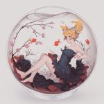 1girl air_bubble animal barefoot black_dress branch cherry_blossoms doomfest dress fish fishbowl flower from_side full_body goldfish green_eyes grey_background hair_flower hair_ornament highres in_bowl in_container sakura_trick short_hair short_twintails simple_background solo sonoda_yuu strapless strapless_dress submerged twintails underwater water white_flower