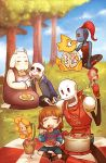 3boys 3girls alphys androgynous apron blanket blush closed_eyes clothes_writing fang flowey_(undertale) food fork frisk_(undertale) frown glasses head_fins horns jacket kataro kiss kneeling multiple_boys multiple_girls open_mouth papyrus_(undertale) pasta plant plate ponytail pot potted_plant redhead sans sitting skeleton skull spaghetti tail toriel undertale undyne yuri