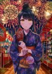 1girl aerial_fireworks agetake black_hair fan fireworks hair_bun highres japanese_clothes kimono kinchaku original paper_fan sash solo summer_festival uchiwa water_balloon yellow_eyes yukata
