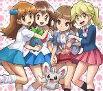 4girls blazer blonde_hair brown_eyes brown_hair jacket lass_(pokemon) minccino multiple_girls oddish pokemoa pokemon pokemon_(creature) pokemon_(game) skirt socks yellow_eyes