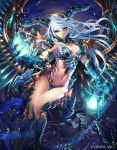 1girl armor bikini_armor breasts claws cleavage dragon_girl fantasy highres horns kazto_furuya looking_at_viewer midriff monster_girl navel official_art pointy_ears revealing_clothes shingoku_no_valhalla_gate solo thigh_gap watermark white_hair wings