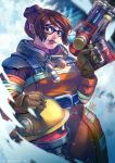 1girl alternate_costume artist_name blue_eyes brown_hair coat gloves gun hair_bun helmet ice mar-93 mei_(overwatch) overwatch snow snowing solo watermark weapon web_address