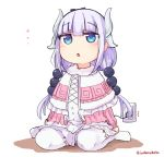 1girl artist_request bangs beads blue_eyes blush capelet commentary_request dragon_girl electric_socket full_body gradient_hair hair_beads hair_ornament hairband highres horns kanna_kamui kobayashi-san_chi_no_maidragon long_hair multicolored_hair recharging solo tail thigh-highs twintails white_legwear