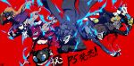 3boys 4girls aura coat domino_mask everyone fox_mask hat highres kitagawa_yuusuke kurusu_akira looking_at_viewer mask morgana_(persona_5) multiple_boys multiple_girls nanaya_(daaijianglin) niijima_makoto okumura_haru persona persona_5 protagonist_(persona_5) red_background sakamoto_ryuuji sakura_futaba smile takamaki_ann