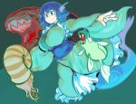 1girl blue_eyes blue_hair blush blush_stickers breasts drill_hair frilled_kimono frills full_body green_kimono head_fins japanese_clothes kimono large_breasts mermaid monster_girl nautilus_(animal) obi open_mouth outstretched_arms pokemon pokemon_(creature) remoraid sash short_hair smile spread_arms touhou underwater wakasagihime wide_sleeves