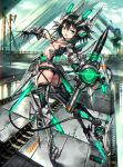 1girl arched_back ass ballet_boots black_hair bridge garter_straps gauntlets gia highres jitome looking_back mecha_musume open_mouth short_hair short_shorts shorts solo thigh-highs