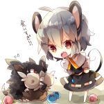 1girl alolan_raticate angry animal_ears black_dress capelet chibi crossover dress flying_sweatdrops food fruit full_body grey_hair highres leaning_forward long_sleeves looking_at_another mega_pokemon mouse_ears mouse_girl mouse_tail nazrin nikorashi-ka open_mouth peach pokemon raticate red_eyes short_hair tail touhou trait_connection translation_request