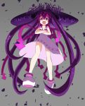 1girl :d crossed_arms drshellon emrakul_the_aeons_torn highres ikamusume long_hair looking_at_viewer magic:_the_gathering open_mouth personification purple_hair shinryaku!_ikamusume shoes smile solo squid_girl tentacle_hair violet_eyes white_shoes