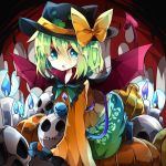 1girl :o all_fours alternate_headwear black_hat black_shoes blue_eyes blue_fire bow candle demon_tail demon_wings deviruchi_hat embellished_costume fire floral_print frilled_shirt_collar frilled_sleeves frills green_hair green_skirt halloween hat hat_bow komeiji_koishi long_sleeves looking_at_viewer nikorashi-ka orange_shirt pumpkin shirt shoes short_hair skirt skull sleeves_past_wrists solo tail touhou wide_sleeves wings yellow_bow
