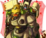 1boy 1girl arm_cannon assault_rifle bastion_(overwatch) blush cresc3 gun heart humping no_humans omnic orisa_(overwatch) overwatch rifle robot weapon