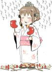 1girl apple apple_core biting boom_microphone brown_hair candy_apple closed_eyes commentary_request dual_wielding eating food food_on_face fruit gomennasai headgear holding holding_food japanese_clothes kantai_collection kimono long_sleeves obi open_mouth sash short_hair solo translated wide_sleeves yukata yukikaze_(kantai_collection)