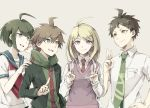 2boys 2girls ahoge akamatsu_kaede asuna_(doruru-mon) blonde_hair brother_and_sister brown_hair danganronpa danganronpa_1 forced_smile green_hair green_necktie highres hinata_hajime hood hoodie jacket multiple_boys multiple_girls naegi_komaru naegi_makoto necktie new_danganronpa_v3 open_clothes open_jacket red_necktie school_uniform serafuku siblings super_danganronpa_2 sweater_vest trait_connection v violet_eyes zettai_zetsubou_shoujo