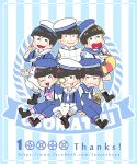6+boys :> black_eyes black_hair boots brothers cat chibi cross-laced_footwear esper_nyanko grin hat heart heart_in_mouth innertube lace-up_boots male_focus matsuno_choromatsu matsuno_ichimatsu matsuno_juushimatsu matsuno_karamatsu matsuno_osomatsu matsuno_todomatsu multiple_boys nightcat one_eye_closed open_mouth osomatsu-kun osomatsu-san overalls sailor sailor_hat siblings sitting smile suspenders