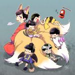 6+boys animal_ears bandages black_hair brothers cat_ears cat_tail chibi chouchin_obake closed_eyes esper_nyanko extra_eyes fan fox_ears fox_tail geta hat japanese_clothes kimono lantern male_focus matsuno_choromatsu matsuno_ichimatsu matsuno_juushimatsu matsuno_karamatsu matsuno_osomatsu matsuno_todomatsu multiple_boys multiple_tails nightcat osomatsu-kun osomatsu-san paper_lantern red_eyes rokurokubi siblings sitting sleeping tail tengu-geta tokin_hat wings