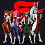 4girls animal_ears antenna_hair arm_behind_back blazblue bomber_jacket breasts brown_eyes brown_hair candy cat_ears cat_tail cosplay crossover dark_skin eymbee falco_lombardi falco_lombardi_(cosplay) final_fantasy final_fantasy_xii fingerless_gloves fingernails flat_chest fox_mccloud fox_mccloud_(cosplay) fran full_body glasses gloves grin hands_on_hips headset high_ponytail holo holster index_finger_raised jacket kokonoe large_breasts lollipop long_coat long_fingernails long_hair makoto_nanaya medium_breasts multicolored_hair multiple_crossover multiple_girls multiple_tails neckerchief open_clothes open_jacket orange_eyes peppy_hare pilot_suit pince-nez pink_hair rabbit_ears red_eyes scouter short_hair silver_hair simple_background slippy_toad smile spice_and_wolf squirrel_ears squirrel_tail standing star_fox tail thigh_holster two-tone_hair two_side_up very_long_hair viera wolf_ears wolf_tail