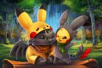 cheek-to-cheek crossover dragon eric_proctor forest green_sclera how_to_train_your_dragon nature no_humans one_eye_closed pikachu pikachu_(cosplay) pikachu_costume pokemon pokemon_(creature) scarf signature toothless wings