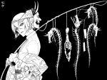 1boy black_background enemy_tantou greyscale higekiri_(touken_ranbu) historical_revisionist japanese_clothes kimono male_focus monochrome oni_mask skeleton solo touken_ranbu zuwai_kani