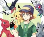 1boy asuna_(doruru-mon) baseball_cap blue_eyes brown_hair butterfree charmeleon fangs fingerless_gloves fire gloves green_eyes grin hat highres hiroshi_(pokemon) jacket male_focus on_shoulder open_clothes open_jacket pikachu pokemon pokemon_(anime) pokemon_(creature) pupitar red_eyes smile taillow zipper
