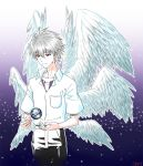 1boy earth nagisa_kaworu neon_genesis_evangelion red_eyes school_uniform seraph short_hair smile white_hair