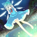 >:) arms_behind_back barefoot blue_eyes blue_hair bow cirno colored_eyelashes d-tline dutch_angle eyelashes fireflies hair_bow highres ko->u lake light smile solo touhou wings
