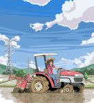 amami_haruka brown_hair cloud clouds farm farmer gloves green_eyes hair_ribbon hat idolmaster mud open_mouth power_lines refine ribbon rice_paddy short_hair sky sleeves_rolled_up smile solo tractor
