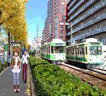 brown_eyes brown_hair casual hagiwara_yukiho highres idolmaster kisaragi_chihaya refine tram