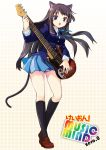 animal_ears bad_id bass_guitar black_hair black_kneehighs black_legwear blue_eyes cat_ears cat_tail ei_(pakirapakira) guitar instrument jin_young-in k-on! kneehighs legs loafers long_hair school_uniform shoes socks solo tail