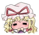 =_= blonde_hair blush chibi covering_mouth face hair_ribbon hat kishimasa lowres ribbon solo touhou yakumo_yukari