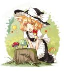 1girl animal_ears apron blonde_hair blush bow braid cat_ears cat_tail commentary_request eyebrows eyebrows_visible_through_hair fang hair_bow hair_ribbon hat hat_bow kemonomimi_mode kirisame_marisa kneeling mushroom open_mouth puffy_short_sleeves puffy_sleeves red_bow ribbon short_sleeves side_braid single_braid solo sparkle star tail touhou tree_stump tress_ribbon uruu_gekka v_arms waist_apron white_apron white_bow witch_hat