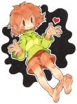 1girl bare_legs barefoot blush_stickers breasts brown_hair chara_(undertale) feet heart long_sleeves messy_hair oyatsu_(mk2) shirt short_hair shorts small_breasts smile soles solid_oval_eyes solo striped toes turtleneck undertale white_background