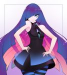 1girl alternate_color alternate_hair_color bare_shoulders blue_eyes breasts check_source hair_over_one_eye halphelt hands_on_hips highres looking_at_viewer lusamine_(pokemon) multicolored_hair panty_&_stocking_with_garterbelt pokemon sleeveless small_breasts solo stocking_(psg) stocking_(psg)_(cosplay) striped striped_legwear