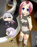 =_= arms_behind_back arnval_mk2_tempesta blue_eyes blue_hair breasts busou_shinki commentary_request computer_keyboard desk doll_joints dvd_case gomasamune hairband highres juvisy leotard long_hair looking_back medium_breasts object_hug open_mouth pink_hair purple_hair shadow smile tail translation_request