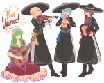 4girls accordion acoustic_guitar alternate_costume ascot blonde_hair blue_hair bob_cut boots brown_hair closed_eyes commentary copyright_name dress fading green_eyes guitar hair_over_shoulder hat headband instrument layla_prismriver long_hair long_sleeves looking_at_viewer lunasa_prismriver lyrica_prismriver mefomefo merlin_prismriver mexican_dress mexico multiple_girls music one_eye_closed playing_instrument scarf short_hair simple_background sitting skirt smile sombrero spanish standing touhou transparent trumpet vest violin white_background yellow_eyes