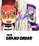 2girls :d ahoge bare_shoulders belt blush detached_sleeves dress fate/grand_order fate_(series) female_protagonist_(fate/grand_order) flat_chest hat helena_blavatsky_(fate/grand_order) here's_johnny! holding holding_knife knife long_sleeves matsuryuu multiple_girls open_mouth orange_hair parody purple_hair riyo_(lyomsnpmp)_(style) short_hair side_ponytail sleeveless sleeveless_dress smile strapless strapless_dress teeth the_shining thigh-highs violet_eyes weapon yellow_eyes