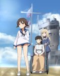 3girls aircraft_carrier black_hair blonde_hair brown_hair clenched_hands clouds flag frown glasses hands_on_lap highres kaneko_(novram58) long_hair looking_at_another looking_away military military_vehicle miyafuji_yoshika multiple_girls perrine_h_clostermann sakamoto_mio ship short_hair sitting sky strike_witches swimsuit swimsuit_under_clothes uniform warship watercraft wheelchair world_witches_series