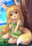 1girl :d animal_ears bare_shoulders blonde_hair blue_sky breasts clouds collarbone day dress eyebrows eyebrows_visible_through_hair fox_ears fox_tail green_dress green_eyes hair_twirling horizon insect kitsune ladybug layered_dress long_hair looking_at_viewer ocean open_mouth original outdoors ribbon-trimmed_clothes ribbon_trim round_teeth sitting sky sleeveless sleeveless_dress small_breasts smile solo sunlight tail teeth tree u_rin under_tree wariza wrist_cuffs