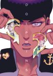 3boys black_hair collarbone cover cover_page doujin_cover earrings face hat heart higashikata_jousuke jewelry jojo_no_kimyou_na_bouken kakyouin_noriaki kuujou_joutarou male_focus multiple_boys nashi_y peace_symbol pink_eyes pompadour purple_hair redhead stud_earrings