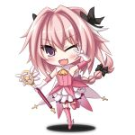 >;d 1boy ;d akatuti boots bow braid chibi cosplay dress fang fate/apocrypha fate/kaleid_liner_prisma_illya fate_(series) gloves hair_bow magical_girl male_focus one_eye_closed open_mouth otoko_no_ko pink_hair prisma_illya prisma_illya_(cosplay) rider_of_black single_braid smile standing standing_on_one_leg v v_over_eye violet_eyes wand white_gloves