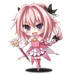 >:d 1boy :d akatuti boots bow braid chibi cosplay dress fang fate/apocrypha fate/kaleid_liner_prisma_illya fate_(series) gloves hair_bow magical_girl male_focus open_mouth otoko_no_ko pink_hair prisma_illya prisma_illya_(cosplay) rider_of_black single_braid smile violet_eyes wand white_gloves