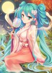 1girl aqua_eyes aqua_hair autumn_leaves blush breasts chuushuu_meigetsu_miku closed_mouth fan floral_print flower from_side full_moon glowing_butterfly goushou grass hair_flower hair_ornament hakama hatsune_miku holding_fan japanese_clothes kimono long_hair long_sleeves looking_at_viewer looking_to_the_side medium_breasts moon night night_sky paper_fan partially_submerged river rock sitting sky smile solo tree twintails uchiwa very_long_hair vocaloid wide_sleeves