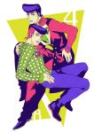 2boys absurdres adam's_apple anchor_symbol gakuran green_eyes hand_on_hip heart higashikata_jousuke highres jojo_no_kimyou_na_bouken jojolion kuujou_josefumi male_focus multicolored_eyes multicolored_hair multiple_boys nail_polish nashi_y peace_symbol pin pink_eyes pink_hair pink_nails pompadour purple_hair purple_nails school_uniform two-tone_hair