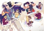 2016 age_comparison artist_name baby beard black_gloves blood blue_hair book bottle brown_hair camera carrying comic dated facial_hair glasses gloves grey_hair hands_on_own_face hat headband hermit_purple jacket jojo_no_kimyou_na_bouken joseph_joestar joseph_joestar_(young) knife kuren multiple_persona muscle necktie older one_eye_closed photo_(object) polaroid shizuka_joestar signature smile soda_bottle stand_(jojo) sunglasses suspenders white_gloves younger