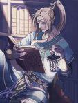 1boy blue_(saga_frontier) blue_eyes book bookshelf hair_ornament indoors jewelry lantern necklace open_book ponytail reading saga saga_frontier scarf_removed sitting solo yuzukarin