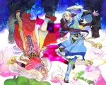 2boys angel blue_(saga_frontier) blue_boots blue_clothes boots bracer dagger flower ground_cherry jewelry long_hair male_focus multiple_boys necklace oitsukenai ponytail ring robe rouge_(saga_frontier) saga saga_frontier scarf sheath sheathed siblings tagme twins upside-down weapon white_hair wide_sleeves