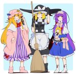 3girls :< alice_margatroid apron bangs black_gloves black_shoes black_skirt black_vest blonde_hair blue_background blue_bow blue_dress blue_eyes blunt_bangs bow bowtie braid broom capelet commentary_request cosplay costume_switch crescent crescent_hair_ornament dress eichi_yuu frilled_bow frills gloves hair_between_eyes hair_ornament hair_ribbon hairband hat hat_bow high_heels kirisame_marisa lolita_hairband long_hair long_sleeves mob_cap multiple_girls patchouli_knowledge pink_bow pink_bowtie pink_coat pink_shoes puffy_short_sleeves puffy_sleeves purple_hair red_bow red_bowtie ribbon shanghai_doll shoes short_sleeves side_braid sidelocks single_braid skirt sleeve_cuffs striped striped_dress sweat touhou tress_ribbon turtleneck very_long_hair violet_eyes waist_apron white_apron white_bow white_shoes wide_sleeves wing_collar witch_hat yellow_eyes |_|