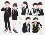 1girl 6+boys :< :o ;3 alternate_costume arm_up artist_name backpack bag bangs black_eyes black_hair black_jacket black_pants black_shoes black_skirt black_sweater blazer blazer_removed blush bow bowl_cut bowtie breasts brothers brown_eyes brown_hair character_name clenched_hand closed_mouth collared_shirt copyright_name cropped_torso cross-laced_footwear dress_shirt grey_background grin hairband hand_in_pocket heart heart_in_mouth hetero holding holding_jacket holding_phone jacket jacket_removed korean long_sleeves looking_at_another looking_at_viewer looking_to_the_side matsuno_choromatsu matsuno_ichimatsu matsuno_juushimatsu matsuno_karamatsu matsuno_osomatsu matsuno_todomatsu mery_(apfl0515) miniskirt multiple_boys necktie open_blazer open_clothes open_jacket osomatsu-kun osomatsu-san pants pencil_skirt phone sextuplets shirt shoes short_twintails siblings simple_background skirt sleeves_rolled_up small_breasts smile sneakers socks standing striped striped_bow striped_bowtie striped_necktie surgical_mask sweater sweater_vest twintails uneven_eyes white_legwear white_shirt wiping_nose yowai_totoko